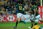 9th September 2017, nib Stadium, Perth, Australia; Supersport Rugby Championship, Australia versus South Africa; Jan Serfontein of the South African Springboks breaks free of a tackle and heads for the try line during the second half