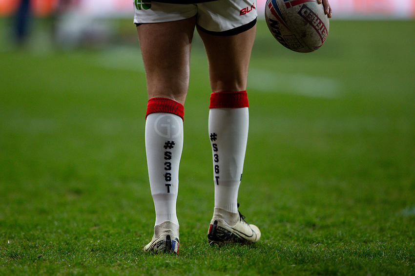 Detail of the Toronto Wolfpack strip<br /> <br /> Photographer Alex Dodd/CameraSport<br /> <br /> Betfred Super League Round 6 - Leeds Rhinos v Toronto Wolfpack - Thursday 5th March 2020 - Headingley - Leeds<br /> <br /> World Copyright © 2020 CameraSport. All rights reserved. 43 Linden Ave. Countesthorpe. Leicester. England. LE8 5PG - Tel: +44 (0) 116 277 4147 - admin@camerasport.com - www.camerasport.com