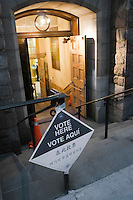 New York, NY - 4 November 2008 - Polling site with multilingual sign.