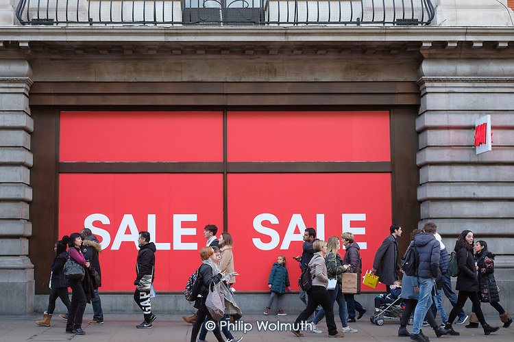 H&M, Hennes.  End of year sales, Oxford Street, London.