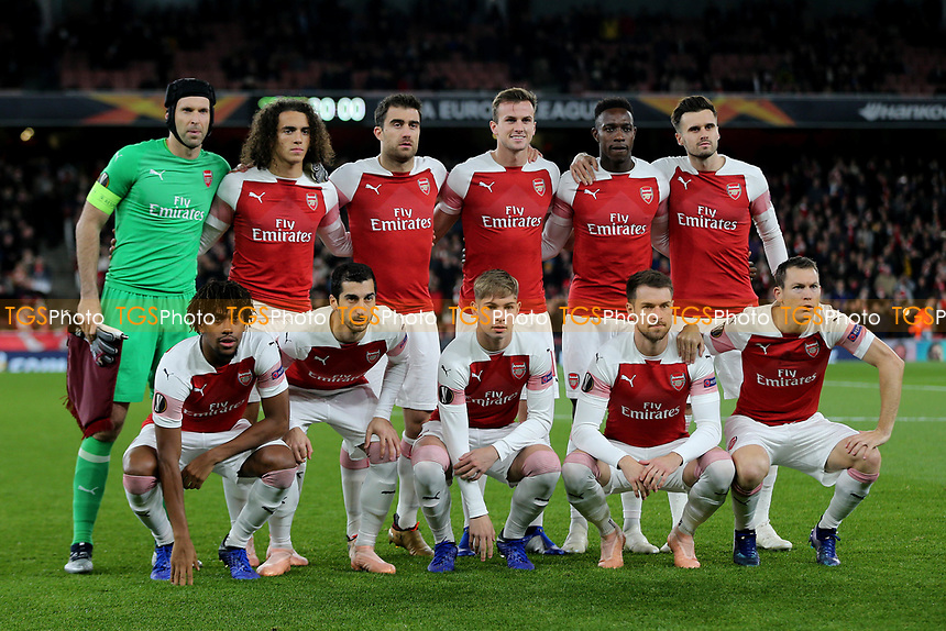 Arsenal Team Photo, Top Row (L-R) Petr Cech, Matteo Guendouzi, Sokratis, Rob Holding, Danny Welbeck, Carl Jenkinson. Front Row (L-R) Alex Iwobi, Henrikh Mkhitaryan, Emile Smith Rowe, Aaron Ramsey, Stephan Lichtsteiner during Arsenal vs Sporting Lisbon, UEFA Europa League Football at the Emirates Stadium on 8th November 2018
