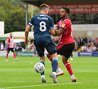 Lincoln City's Bruno Andrade vies for possession with Bristol Rovers' Ollie Clarke<br /> <br /> Photographer Chris Vaughan/CameraSport<br /> <br /> The EFL Sky Bet League One - Lincoln City v Bristol Rovers - Saturday 14th September 2019 - Sincil Bank - Lincoln<br /> <br /> World Copyright © 2019 CameraSport. All rights reserved. 43 Linden Ave. Countesthorpe. Leicester. England. LE8 5PG - Tel: +44 (0) 116 277 4147 - admin@camerasport.com - www.camerasport.com