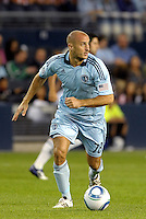 Aurelien Collin (78) defender Sporting KC in action... Sporting Kansas City and Chivas Guadalajara played to a 2-2 tie in an international friendly at LIVESTRONG Sporting Park, Kansas City, Kansas.