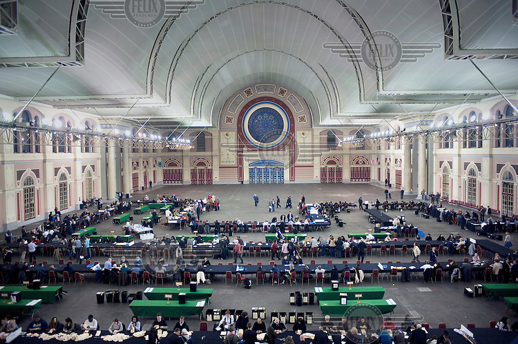 Votes being counted in the Great Hall at Alexandra Palace in North London.