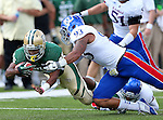 Baylor Bears running back Lache Seastrunk (25) and Kansas Jayhawks defensive lineman Ben Goodman (93) in action during the game between the Kansas Jayhawks and the Baylor Bears at the Floyd Casey Stadium in Waco, Texas. Baylor leads Kansas 20 to 14 at halftime....