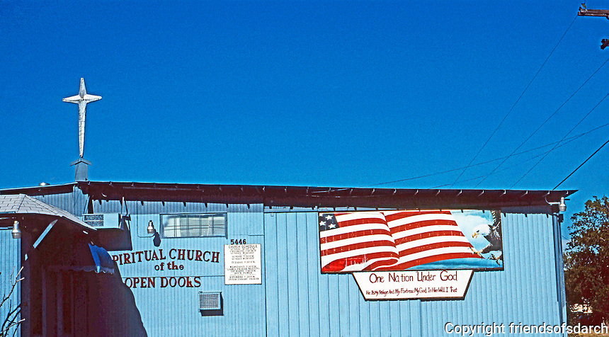 San Antonio:  Spiritual Church of the Open Door and State in America. South Flores St. & Chavaneaux Rd. Photo '96.