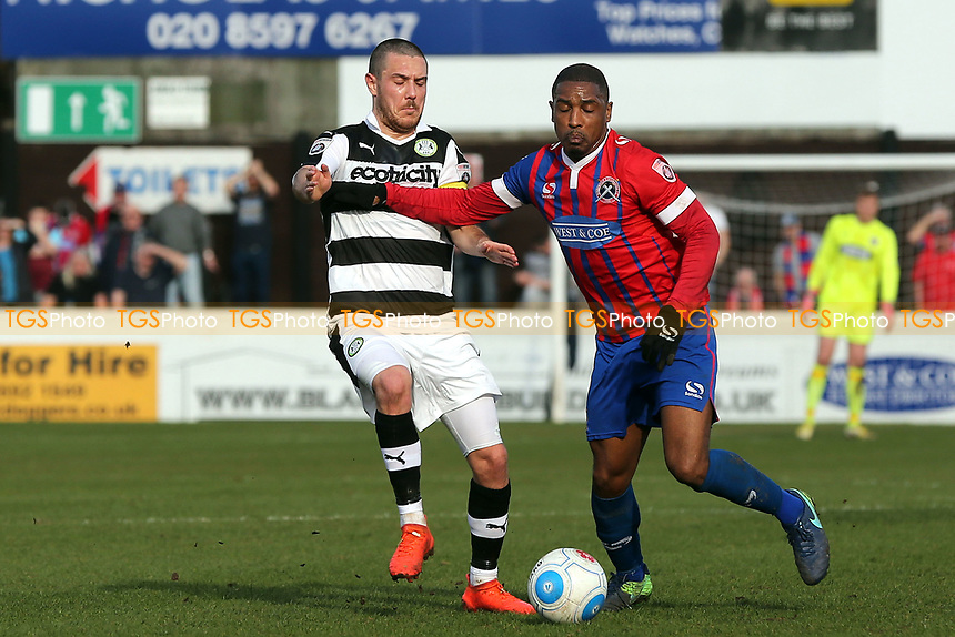 Andre Boucaud of Dagenham and Liam Noble of Forest Green Rovers during Dagenham & Redbridge vs Forest Green Rovers, Vanarama National League Football at the Chigwell Construction Stadium on 11th March 2017