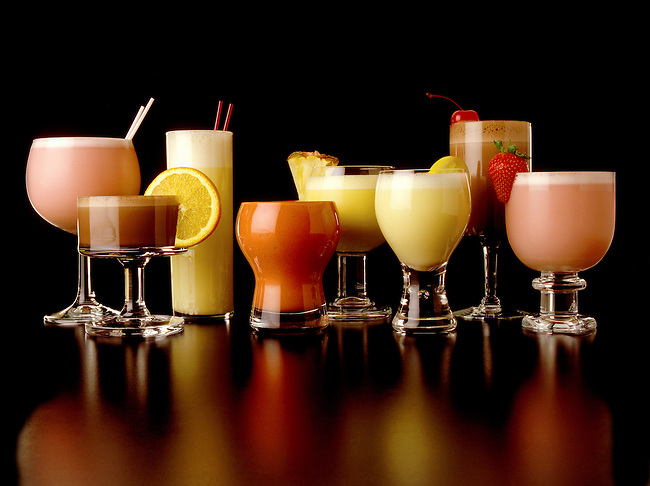 Prepared mixed shake DRINKS with fruit.