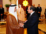 Egyptian President Abdel Fattah al-Sisi meets with UAE officials at the Presidential Airport in Abu Dhabi, UAE, May 3, 2017. Photo by Egyptian President Office