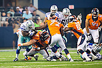 Dallas Cowboys defensive back Tyler Patmon (35) and Denver Broncos defensive tackle Mitch Unrein (96) in action during the pre-season game between the Denver Broncos and the Dallas Cowboys at the AT & T stadium in Arlington, Texas. Denver leads Dallas 10 to 3 at halftime.