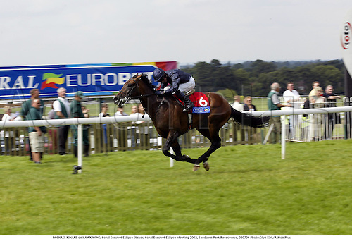 MICHAEL KINANE on HAWK WING, Coral Eurobet Eclipse Stakes, Coral Eurobet Eclipse Meeting 2002, Sandown Park Racecourse, 020706 Photo:Glyn Kirk/Action Plus...Horse Racing.horses