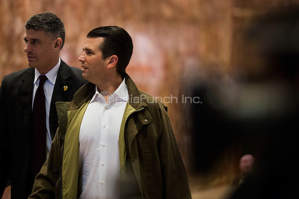 Donald Trump Junior arrives at Trump Tower in Manhattan, New York, U.S., on Thursday, Thursday, January 12, 2017. <br /> Credit: John Taggart / Pool via CNP /MediaPunch