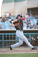 Forrest Wall (7) of the Modesto Nuts bats against the Lancaster JetHawks at The Hanger on June 7, 2016 in Lancaster, California. Lancaster defeated Modesto, 3-2. (Larry Goren/Four Seam Images)