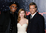 "HOLLYWOOD, CA. - December 17: Actor Samuel L. Jackson, Actress Scarlett Johansson and Actor Gabriel Macht  arrive at the Los Angeles premiere of ""The Spirit"" at the Grauman's Chinese Theater on December 17, 2008 in Hollywood, California."