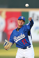 Julio Urias #17 of the Rancho Cucamonga Quakes warms up before pitching against the Lake Elsinore Storm at LoanMart Field on April 14, 2014 in Rancho Cucamonga, California. Lake Elsinore defeated Rancho Cucamonga, 5-0. (Larry Goren/Four Seam Images)