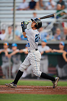 Hudson Valley Renegades catcher Michael Berglund (29) follows through on a swing during a game against the Auburn Doubledays on September 5, 2018 at Falcon Park in Auburn, New York.  Hudson Valley defeated Auburn 11-5.  (Mike Janes/Four Seam Images)