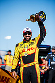 funny car, Camry, J.R. Todd, DHL, trophy, celebration, victory