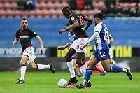 Bolton Wanderers' Sammy Ameobi competing with Wigan Athletic's Reece James <br /> <br /> Photographer Andrew Kearns/CameraSport<br /> <br /> The EFL Sky Bet Championship - Wigan Athletic v Bolton Wanderers - Saturday 16th March 2019 - DW Stadium - Wigan<br /> <br /> World Copyright &copy; 2019 CameraSport. All rights reserved. 43 Linden Ave. Countesthorpe. Leicester. England. LE8 5PG - Tel: +44 (0) 116 277 4147 - admin@camerasport.com - www.camerasport.com
