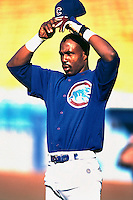 Shawon Dunston of the Chicago Cubs during a game at Dodger Stadium in Los Angeles, California during the 1997 season.(Larry Goren/Four Seam Images)