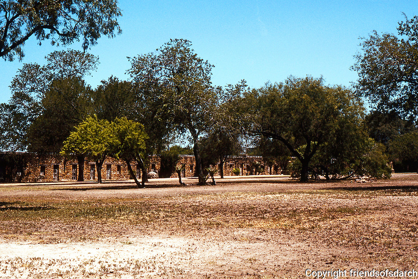 "San Antonio:  Mission San Jose perimeter walls. ""Almost impregnable"" to Apache & Comanche raids."