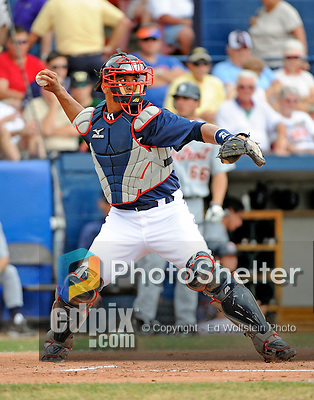 11 March 2008: Cleveland Indians' catcher Victor Martinez in action during a Spring Training game against the Detroit Tigers at Chain of Lakes Park, in Winter Haven Florida. The Tigers rallied to defeat the Indians 4-2 in the Grapefruit League matchup...Mandatory Photo Credit: Ed Wolfstein Photo