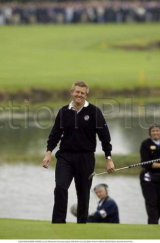 COLIN MONTGOMERIE (EUROPE) on the 18th green, Foursomes Match, 34th Ryder Cup, The Belfry, Sutton Coldfield, 020928. Photo: Glyn Kirk/Action Plus....2002.golf golfer player....... .....