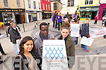 Pictured at the direct provison protest in the Square, Tralee on Tuesday were l-r: Richa Ubadhyay, Michael Musoke and Sharon Roche.