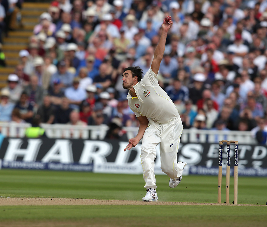 Australia's Mitchell Starc<br /> <br /> Photographer Stephen White/CameraSport<br /> <br /> International Cricket - Investec Ashes Test Series 2015 - Third Test - England v Australia - Day 2 - Thursday 30th July 2015 - Edgbaston - Birmingham <br /> <br /> &copy; CameraSport - 43 Linden Ave. Countesthorpe. Leicester. England. LE8 5PG - Tel: +44 (0) 116 277 4147 - admin@camerasport.com - www.camerasport.com