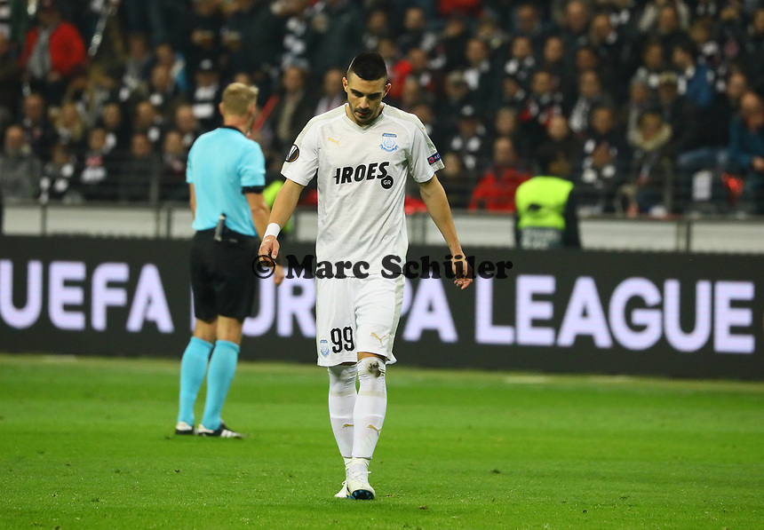 Anton Maglica (Apollon Limassol FC) enttäuscht - 25.10.2018: Eintracht Frankfurt vs. Apollon Limassol FC, Commerzbank Arena, Europa League 3. Spieltag, DISCLAIMER: DFL regulations prohibit any use of photographs as image sequences and/or quasi-video.