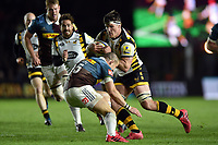 Guy Thompson of Wasps takes on the Harlequins defence. Aviva Premiership match, between Harlequins and Wasps on April 28, 2017 at the Twickenham Stoop in London, England. Photo by: Patrick Khachfe / JMP