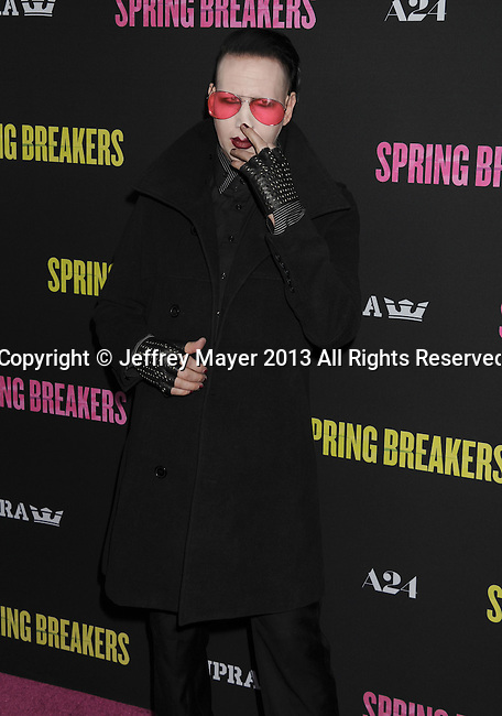 HOLLYWOOD, CA - MARCH 14: Marilyn Manson attends the 'Spring Breakers' Los Angeles Premiere at ArcLight Hollywood on March 14, 2013 in Hollywood, California.