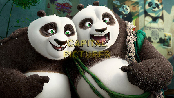 Po (voiced by Jack Black) and his long-lost panda father Li (voiced by Bryan Cranston) pose for a portrait<br /> in Kung Fu Panda 3 (2016) <br /> *Filmstill - Editorial Use Only*<br /> CAP/FB<br /> Image supplied by Capital Pictures