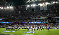 The teams line up during the UEFA Champions League Group stage match between Tottenham Hotspur and Monaco at White Hart Lane, London, England on 14 September 2016. Photo by Andy Rowland.