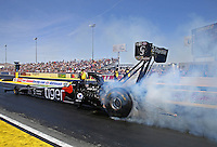 Apr 11, 2015; Las Vegas, NV, USA; NHRA top fuel driver Larry Dixon during qualifying for the Summitracing.com Nationals at The Strip at Las Vegas Motor Speedway. Mandatory Credit: Mark J. Rebilas-