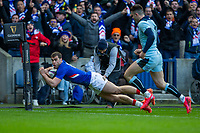 8th March 2020; Murrayfield Stadium, Edinburgh, Scotland; International Six Nations Rugby, Scotland versus France; Damian Penaud of France goes over and scores a try