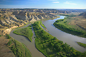 Missouri River winding through bad lands