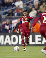 Real Salt Lake midfielder Javier Morales (11) on the attack. Real Salt Lake defeated the New England Revolution, 2-1, at Gillette Stadium on October 2, 2010.