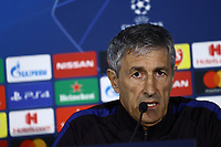24th February 2020; Stadio San Paolo, Naples, Campania, Italy; UEFA Champions League Football, Napoli versus Barcelona, Barcelona Press Conference; Quique Setién coach of Barcelona
