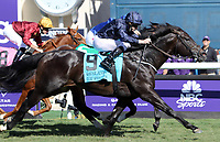 DEL MAR, CA - NOVEMBER 04: Declarationofpeace #9, ridden by Ryan Moore wins the Qatar Juvenile Turf Sprint Stakes race on Day 2 of the 2017 Breeders' Cup World Championships at Del Mar Racing Club on November 4, 2017 in Del Mar, California. (Photo by Sue Kawczynski/Eclipse Sportswire/Breeders Cup)
