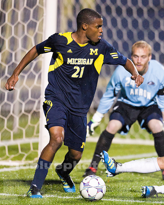 The University of Michigan men's soccer team defeaed No. 4-ranked Akron, 1-0, in OT at the U-M Soccer Stadium in Ann Arbor, Mich., on October 17, 2011.