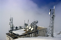 Communication towers on top of a mountain in the French Alps, Chamrousse, France.