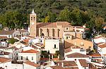 Church and houses in village of Almonaster La Real, Sierra de Aracena, Huelva province, Spain