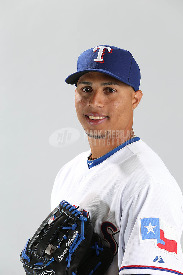 Feb. 20, 2013; Surprise, AZ, USA: Texas Rangers catcher Leonys Martin poses for a portrait during photo day at Surprise Stadium. Mandatory Credit: Mark J. Rebilas-