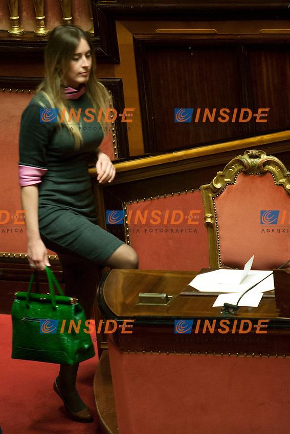 Maria Elena Boschi<br /> Roma 16-12-2014  Senato. Informativa del premier sul prossimo Consiglio europeo<br /> Photo Samantha Zucchi Insidefoto