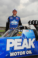 Mar. 9, 2012; Gainesville, FL, USA; NHRA top fuel dragster driver T.J. Zizzo during qualifying for the Gatornationals at Auto Plus Raceway at Gainesville. Mandatory Credit: Mark J. Rebilas-