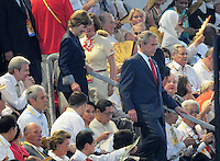 Aug. 8, 2008; Beijing, CHINA; United States president George Bush and wife Laura Bush arrive during the opening ceremonies for the 2008 Beijing Olympic Games at the National Stadium. Mandatory Credit: Mark J. Rebilas-