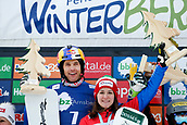 18th March 2018, Winterberg, Germany;  Snowboard World Cup, team parallel slalom. Roland Fischnaller and Nadya Ochner (Italy) celebrate their win at the victory ceremony.