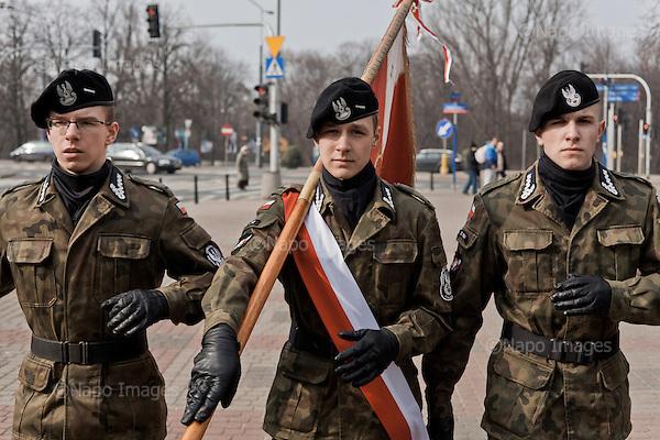WARSZAWA, 03/2015:<br /> Czlonkowie organizacji &quot;Strzelec&quot; podczas podczas przysiegi w Warszawie. Od rozpoczecia wojny na Ukrainie rozne organizacje paramilitarne staja sie coraz bardziej popularne.<br /> Fot: Piotr Malecki<br /> <br /> <br /> WARSAW, POLAND, MARCH 2015:<br /> Young members of &quot;Strzelec&quot; (&quot;The Shooter&quot;) paramilitary association are marching with a Polish flag to take their oath. <br /> Since the start of war in Ukraine, paramilitary associations are becoming more popular.<br /> (Photo by Piotr Malecki)