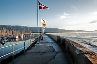 The breakwater at Santa Barbara Harbor one January morning, California.