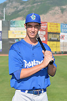 Cody Bellinger (30) of the Ogden Raptors poses for a photo during media day on June 14, 2014 at Lindquist Field in Ogden, Utah. (Stephen Smith/Four Seam Images)